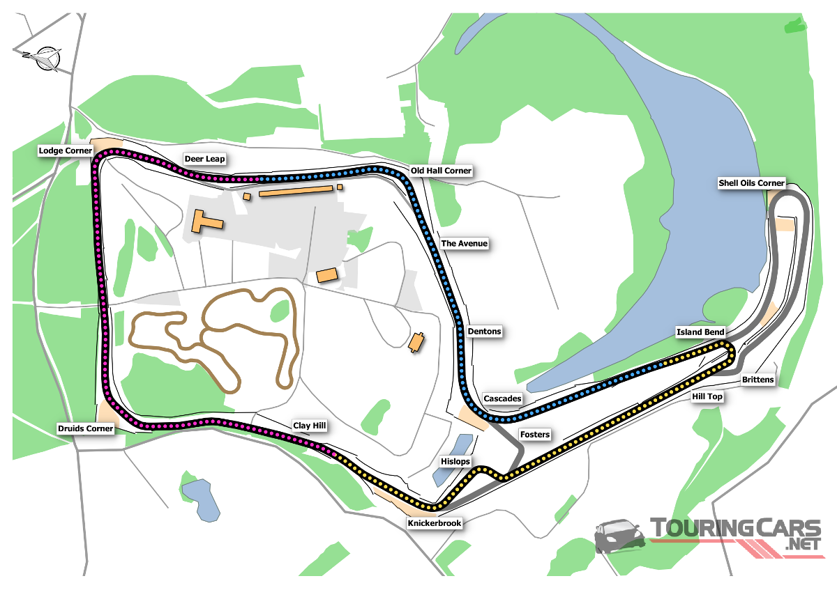 Oulton Park Island map
