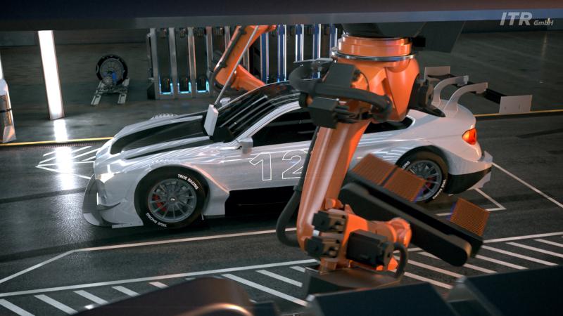 Electric touring car robotic pit stop