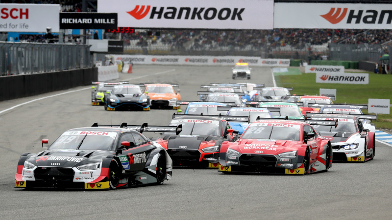 Mike Rockenfeller leads at the start of a DTM race at Hockenheim