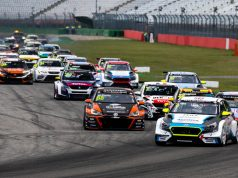 Josh Files, Target Competition, Hyundai i30 N TCR, leads at the start of a TCR Europe race at the Hocneheimring