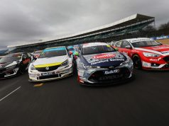 Matt Neal, Jason Plato, Tom Ingram and Rory Butcher in BTCC tracking shot, 2020