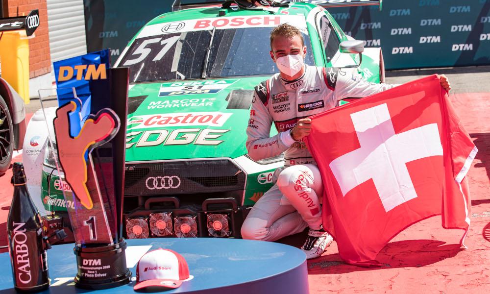 Nico Müller wearing a mask, Audi Sport Team Abt Sportsline, Audi RS5 DTM